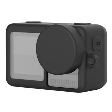 AMZER Silicone Protective Case with Lens Cover & Lanyards for DJI Osmo Action - Black - fommystore