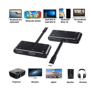 AMZER USB Type C Male to  PD/ HDMI/ VGA/ Audio/ USB 3.0 Female 5 in 1 Converter - fommystore