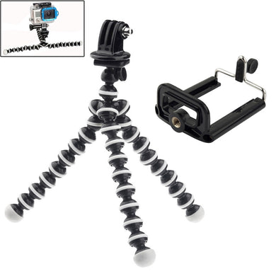 2 in 1 Flexible Tripod with Camera Mount Adapter/ Phones Mount Adapter Set for GoPro NEW HERO / HERO7 /6 /5 /5 Session /4 Session /4 /3+ /3 /2 /1, Xiaoyi and Other Action Cameras, Mobile Phone - fommystore