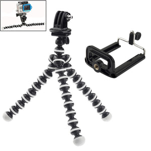 2 in 1 Flexible Tripod with Camera Mount Adapter/ Phones Mount Adapter Set for GoProNEW HERO / HERO7 /6 /5 /5 Session /4 Session /4 /3+ /3 /2 /1, Xiaoyi and Other Action Cameras, Mobile Phone