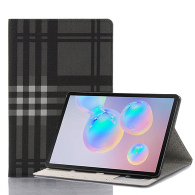 AMZER Tartan Pattern Horizontal Flip Leather Case with Card Slots & Wallet for Samsung Galaxy Tab S6 10.5 SM-T860/ SM-T865  - Grey - fommystore