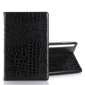 AMZER Crocodile Pattern Horizontal Flip Leather Case with Card Slots & Wallet for Samsung Galaxy Tab S6 10.5 SM-T860/ SM-T865  - Black