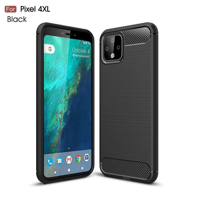 AMZER Shockproof TPU Case With Carbon Fiber Design for Google Pixel 4XL - Black - fommystore