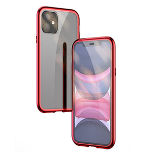 Ultra Slim Dual Side Magnetic Adsorption Angular Frame Tempered Glass Magnet Flip Case for Apple iPhone 11