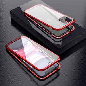 Ultra Slim Dual Side Magnetic Adsorption Angular Frame Tempered Glass Magnet Flip Case for Apple iPhone 11 Pro Max