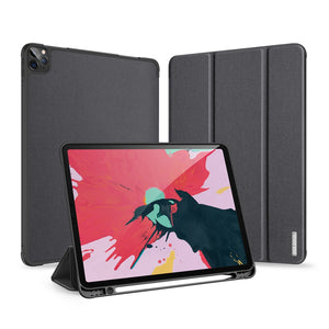 Horizontal PU Leather Case With Three-folding Holder & Pen Slot for Apple iPad Pro 11 (2020) - Black