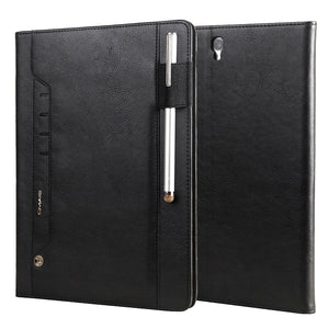 Leather Stand Folio Cover With Pen Slot & Card Slot & Auto Wake/Sleep Function For Samsung Galaxy Tab S3 9.7 T820 - Black