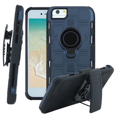 Hybrid Shockproof Holster Case with Stand for iPhone 6/7/8  - Navy Blue