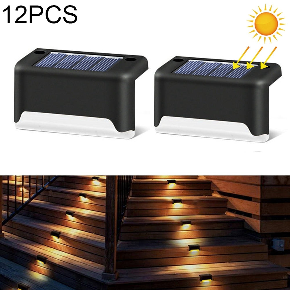 12 PCS Solar Powered LED Outdoor Stairway Light IP65 Waterproof Garden Lamp, Warm White Light - Black