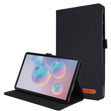 Fabric Texture Horizontal Flip Leather Case with Name Card Clip For Samsung Galaxy Tab A 8.4 (2020) - Black