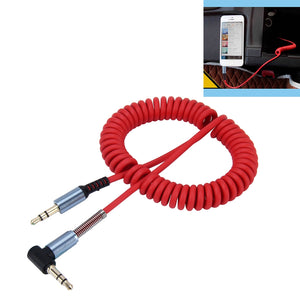 AMZER 3.5mm 3-pole Male to Male Plug Audio AUX Retractable Coiled Cable 1.5m - Red