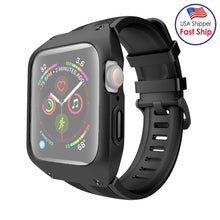 Load image into Gallery viewer, AMZER Armor Shockproof Silicone Case With Strap Watch Band For Apple Watch 3/2/1 - 42mm - Black