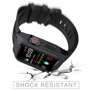 AMZER Armor Shockproof Silicone Case With Strap Watch Band For Apple Watch 3/2/1 - 42mm - Black