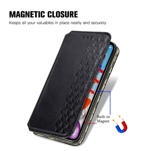 AMZER Cubic Grid Pressed Leather Case, Wallet Folding Flip Case with Kickstand Card Slots Magnetic Closure Protective Cover for iPhone 11 - Black