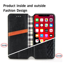 Load image into Gallery viewer, AMZER Cubic Grid Pressed Leather Case, Wallet Folding Flip Case with Kickstand Card Slots Magnetic Closure Protective Cover for iPhone 11 - Black