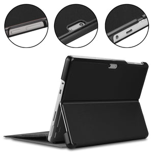AMZER Voltage Elastic Texture Horizontal Flip Leather Case with Holder for Microsoft Surface Go 2/Surface Go - Black
