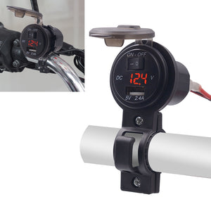 CS-587 12V 2.4A Motorcycle Waterproof Digital Display Voltage Mobile Phone USB Charger Holder - Red