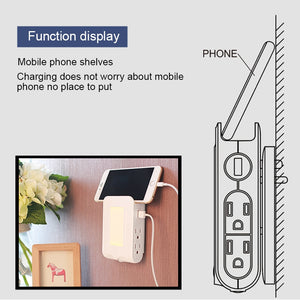 Wall Mount Charger with Dual USB Charge Port + 4 Sockets to Dawn Sensor LED Night Light and Slot