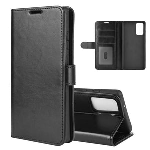 Horizontal Flip Leather Texture Wallet Case with Card Slot Holder for Samsung Galaxy Note20 - Black