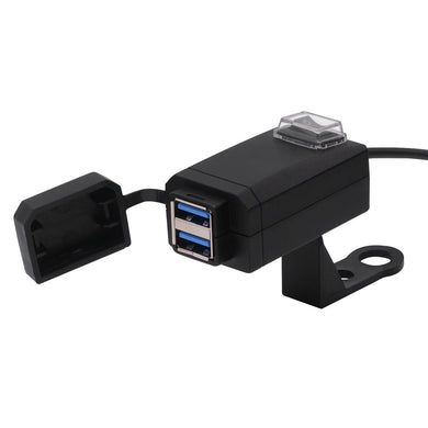 AMZER Motorcycle Waterproof Quick Charge 3.0 Dual USB Fast Charger Adapter with Switch