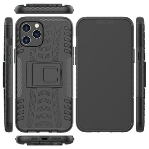 AMZER Hybrid Warrior Dual Layer Kickstand Case for Apple iPhone 12 Pro Max - Black