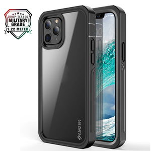 AMZER CRUSTA™ Rugged Tempered Glass Case for iPhone 12 mini - Black
