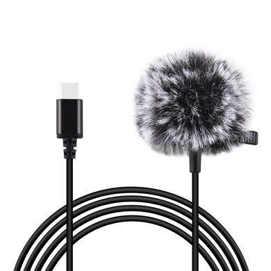 AMZER 1.5m USB-C / Type-C Jack Lavalier Wired Condenser Recording Microphone