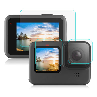 AMZER Camera Lens + LCD Display Tempered Glass Film for GoProHERO9 Black