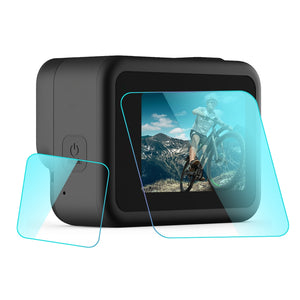 AMZER Camera Lens + LCD Display Tempered Glass Film for GoProHERO8 Black
