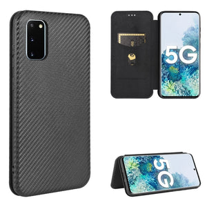 AMZER Carbon Fiber Texture Magnetic Horizontal Flip TPU + PC + PU Leather Case with Card Slot & Lanyard for Samsung Galaxy S20 FE 5G