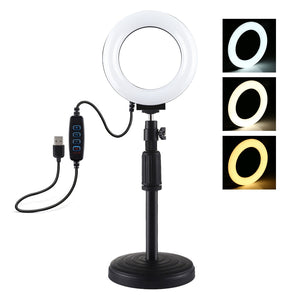 AMZER  Live Broadcast Round Base Desktop Mount with 4.7 inch 12cm 3 Modes USB Dimmable LED Ring - Adjustable Height 18cm-28cm