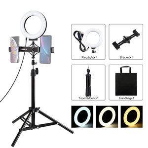AMZER  Live Broadcast Kits 70cm Tripod Mount With 6.2 inch 16cm LED Ring & Live Broadcast Dual Phone Bracket