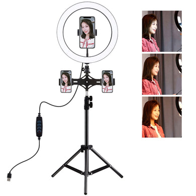 AMZER Live Broadcast Kits 1.1M Tripod Mount With 11.8 inch 30cm LED Ring & Live Broadcast Dual Phone Bracket