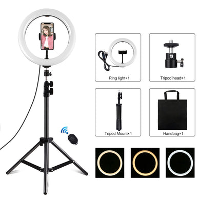 AMZER Live Broadcast Kits 1.1m Tripod Mount USB 3 Modes Dimmable Dual Color Temperature LED With 10.2 inch 26cm LED Ring & with Phone Clamp & Selfie Remote Control