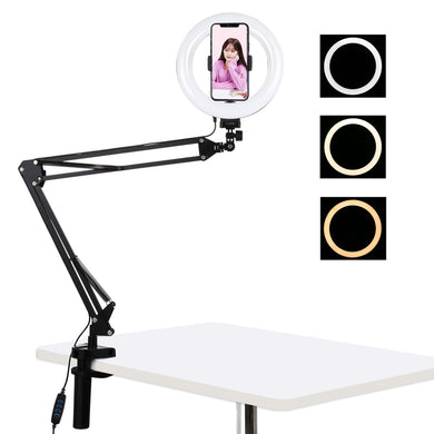 AMZER Live Broadcast Kits Desktop Arm Stand USB 3 Modes Dimmable Dual Color Temperature LED + 7.9 inch 20cm Ring Curved Light with Phone Clamp