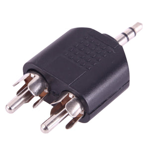 AMZER® 2 RCA Male to 3.5mm Male Jack Audio Y Adapter (Black)