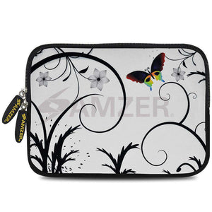 AMZER 7.75 Inch Neoprene Zipper Sleeve Pouch Tablet Bag - Snow Butterfly - fommystore