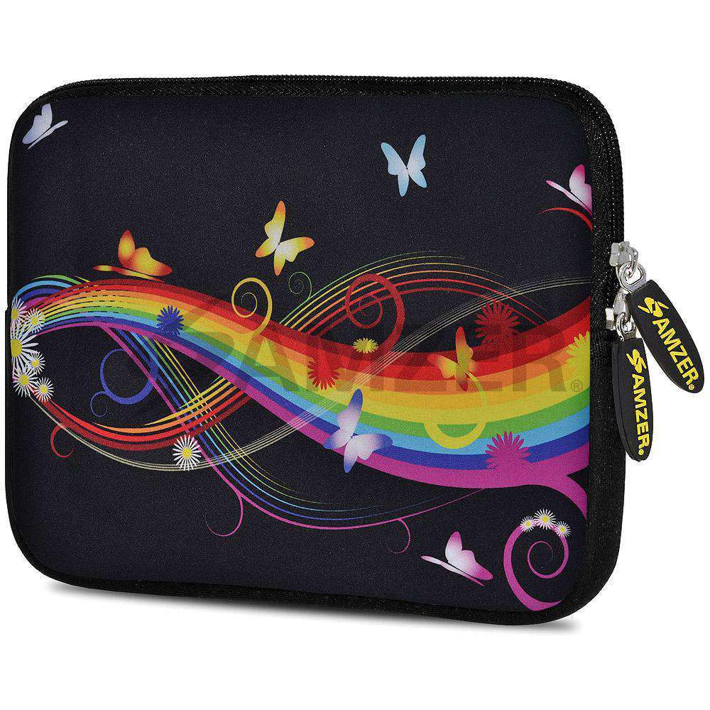 AMZER 7.75 Inch Neoprene Zipper Sleeve Pouch Tablet Bag - Prism Butterfly - fommystore
