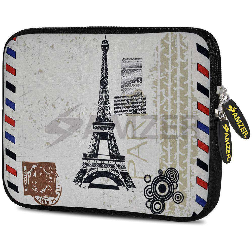 AMZER 7.75 Inch Neoprene Zipper Sleeve Pouch Tablet Bag - Paris Postcard - fommystore