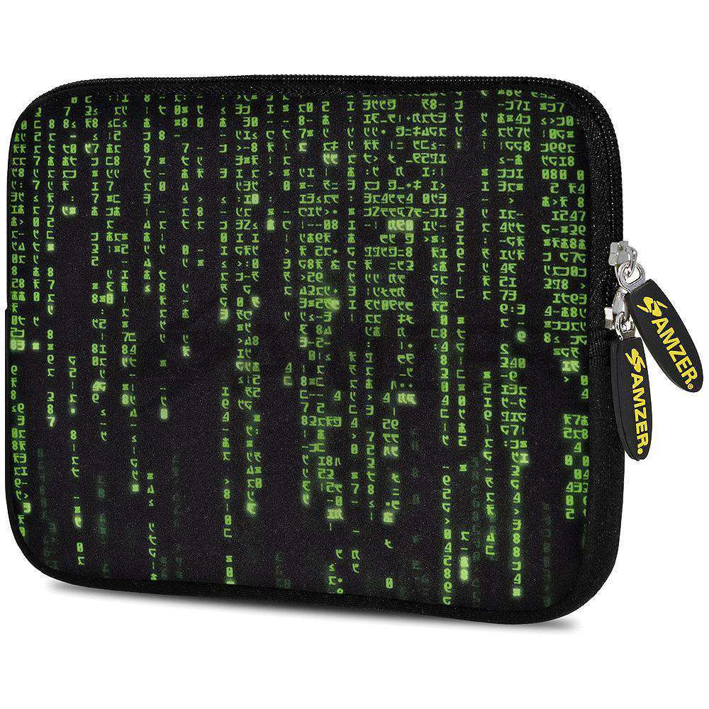 AMZER 7.75 Inch Neoprene Zipper Sleeve Pouch Tablet Bag - Green Data - fommystore