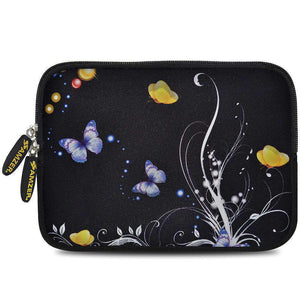 AMZER 7.75 Inch Neoprene Zipper Sleeve Pouch Tablet Bag - Yellow Night Butterfly - fommystore