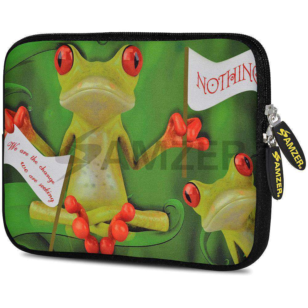 AMZER 7.75 Inch Neoprene Zipper Sleeve Pouch Tablet Bag - Frog Wave - fommystore