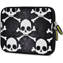 Load image into Gallery viewer, AMZER 7.75 Inch Neoprene Zipper Sleeve Pouch Tablet Bag -  Skull Cross Bones - fommystore