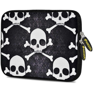 AMZER 7.75 Inch Neoprene Zipper Sleeve Pouch Tablet Bag -  Skull Cross Bones - fommystore