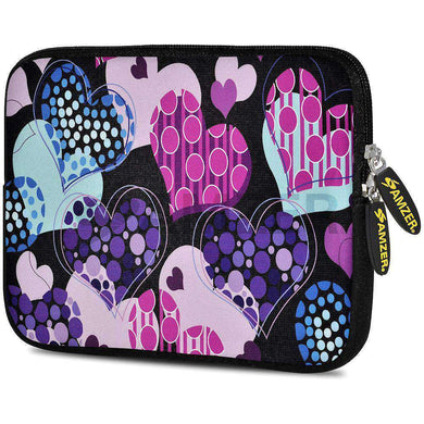 AMZER 7.75 Inch Neoprene Zipper Sleeve Pouch Tablet Bag - Pattern Heart - fommystore
