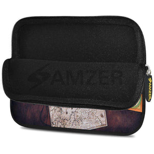 AMZER 7.75 Inch Neoprene Zipper Sleeve Pouch Tablet Bag - Antique map - fommystore