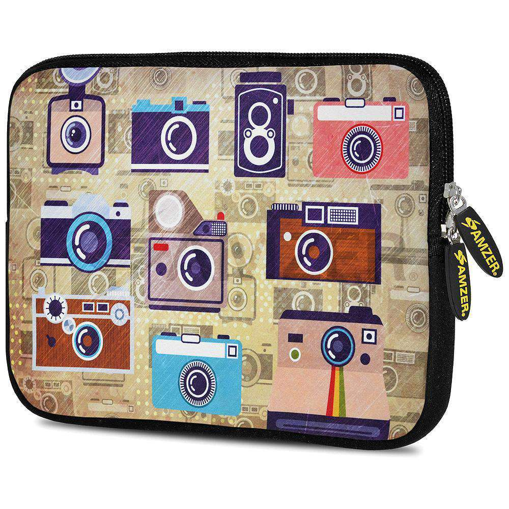 AMZER 7.75 Inch Neoprene Zipper Sleeve Pouch Tablet Bag - Retro Cameras - fommystore
