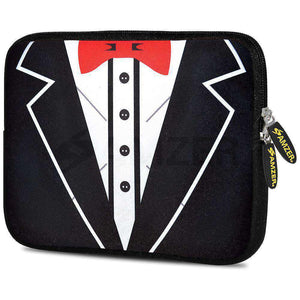 AMZER 10.5 Inch Neoprene Zipper Sleeve Pouch Tablet Bag - Tux Red Bow - fommystore