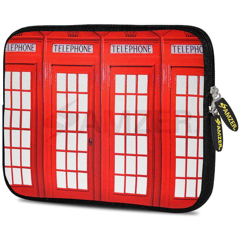 AMZER 10.5 Inch Neoprene Zipper Sleeve Pouch Tablet Bag - Red Phone Boxes - fommystore