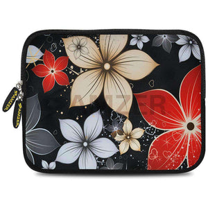AMZER 7.75 Inch Neoprene Zipper Sleeve Tablet Pouch - Wildflowers Red & White - fommystore